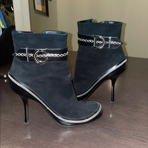 Christian Dior Black Suede logo ankle Boots